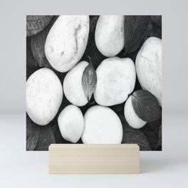 Zen White Stones On A Black Background #decor #society6 #buyart Mini Art Print