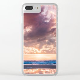 Pink dramatic sky reflection at sunrise on the beach in Spain Clear iPhone Case