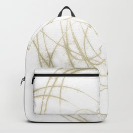 Beige and Brown Minimalist Abstract Line Drawing Backpack