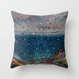 Ocean of Wires-Global Network Throw Pillow