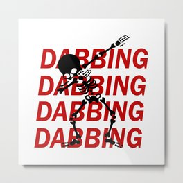 Dabbing Skeleton Metal Print
