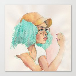 Minty Curls Don't Care Canvas Print