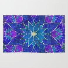 Lotus 2 - blue and purple Rug