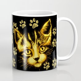 Cute Cat Portrait with Paws Prints Coffee Mug