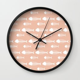 Soft Pink Fish Skeleton Pattern Design Wall Clock