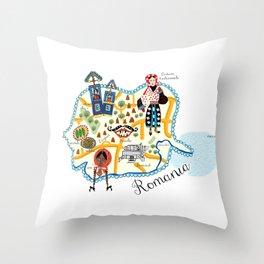 Romania Map Throw Pillow