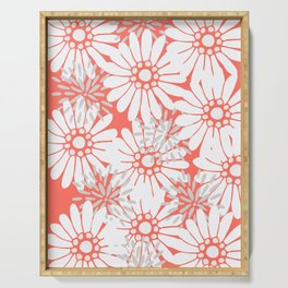 Summer Flowers Living Coral Serving Tray
