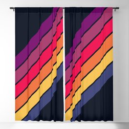 Fantasma - 70s Rainbow Colors Vintage Style Retro Stripes Blackout Curtain
