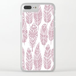 Pink tribal feathers Clear iPhone Case