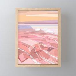 Geometric pink lake and sky, Hutt Lagoon, Western Australia Framed Mini Art Print