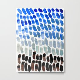 Cool Blue Frosted Winter Palette colorful watercolor Nature Pattern Metal Print