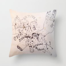 over around under and through Throw Pillow