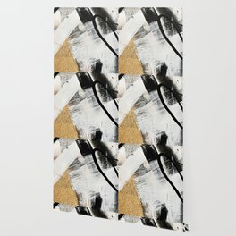 Armor [9]: a minimal abstract piece in black white and gold by Alyssa Hamilton Art Wallpaper
