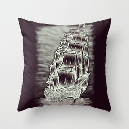 Caleuche Ghost Pirate Ship Variant Throw Pillow