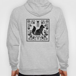 Woodland Folk Black And White Fox Tile Hoody