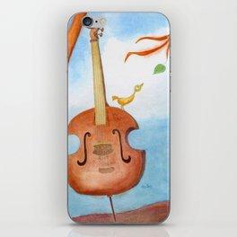 Bird and cello iPhone Skin