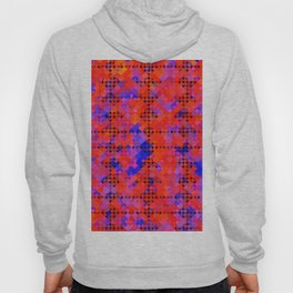 geometric circle and square pattern abstract in red orange blue Hoody