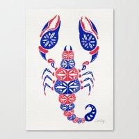 patriotic Canvas Prints featuring Patriotic Scorpion by Cat Coquillette