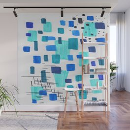 Minimalist Abstract Juvenile Colorful Aqua Blue Shapes Pattern Mid century Modern Wall Mural