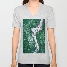 AERIAL. River Lakaja in woods of Labanoras, Lithuania Unisex V-Neck