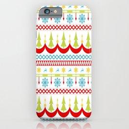 Homespun Christmas Striped Pattern iPhone Case