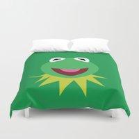 kermit Duvet Covers featuring Minimalist Kermit by Bryan Vogel