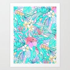Pretty Pastel Hawaiian Hibiscus Print Art Print