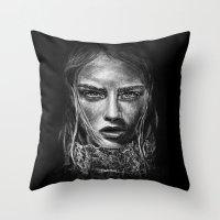 cara delevingne Throw Pillows featuring Cara Delevingne by Creadoorm