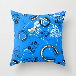 Gamers-Blue Throw Pillow