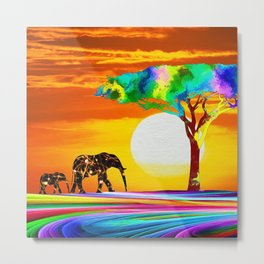 African Elephant with Baby Metal Print