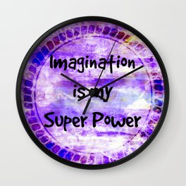 IMAGINATION IS MY SUPER POWER Inspirational Fine Art Painting Typography Lavender Purple Clouds Wall Clock