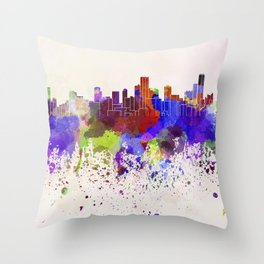 Bogota skyline in watercolor background Throw Pillow