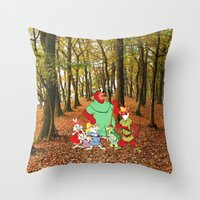 robin hood Throw Pillows featuring Robin Hood and the Gang by foreverwars