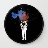 grafitti Wall Clocks featuring Space Galaxy Head – Abstract Grafitti by pennyprintables