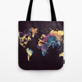 world map 79 yellow black Tote Bag