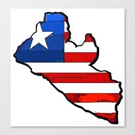 Liberia Map with Liberian Flag Canvas Print
