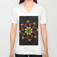 fractal V-neck T-shirts featuring Fractal by Marisa Lopez-Cruzan