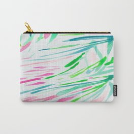 Stripes Swaying Palm Leaves Tree Brushtroke Watercolor Green Blue Carry-All Pouch