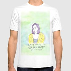 April Ludgate White Mens Fitted Tee SMALL