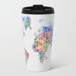 floral world map watercolor 2 Travel Mug