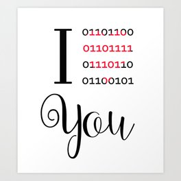 Our love in binary code Art Print