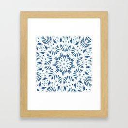 Snowflake Denim & White Framed Art Print