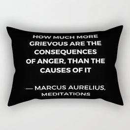 Stoic Wisdom Quotes - Marcus Aurelius Meditations -  on anger Rectangular Pillow