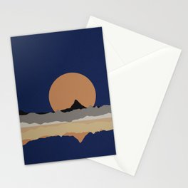 Full Moon Rising Over Sierra Nevada Mountains Stationery Cards