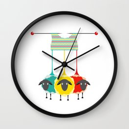 Knitting sheep bright and funny concept Wall Clock