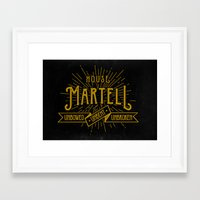 martell Framed Art Prints featuring House Martell Typography by P3RF3KT