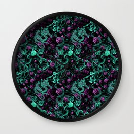 Floral and Snake Night Wall Clock