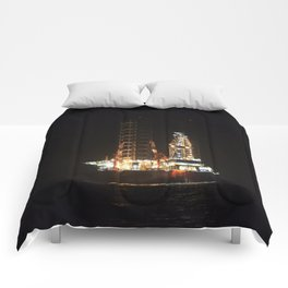 Oil Rig At Sea At Night Comforters
