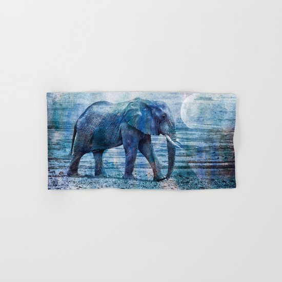 The Elephants Journey blue moon Hand & Bath Towel