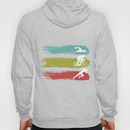 Vintage Triathlon Multisport Race Racing Sprint Running Swimming Swimmer Gift Swim Bike Run Hoody